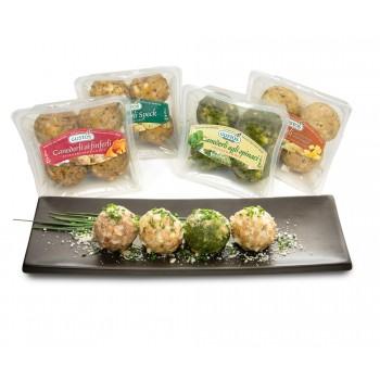 Degustazione di canederli: speck, formaggi, finferli e spinaci