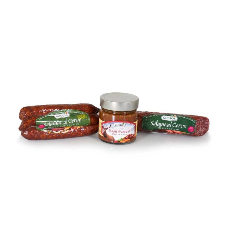 Tris di cervo: salamini, ragù, salame