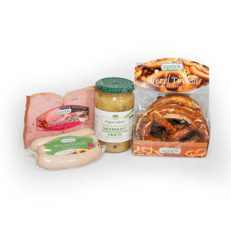 Sapori bavaresi con Leberkäse, Weißwurst, Brezen e crauti