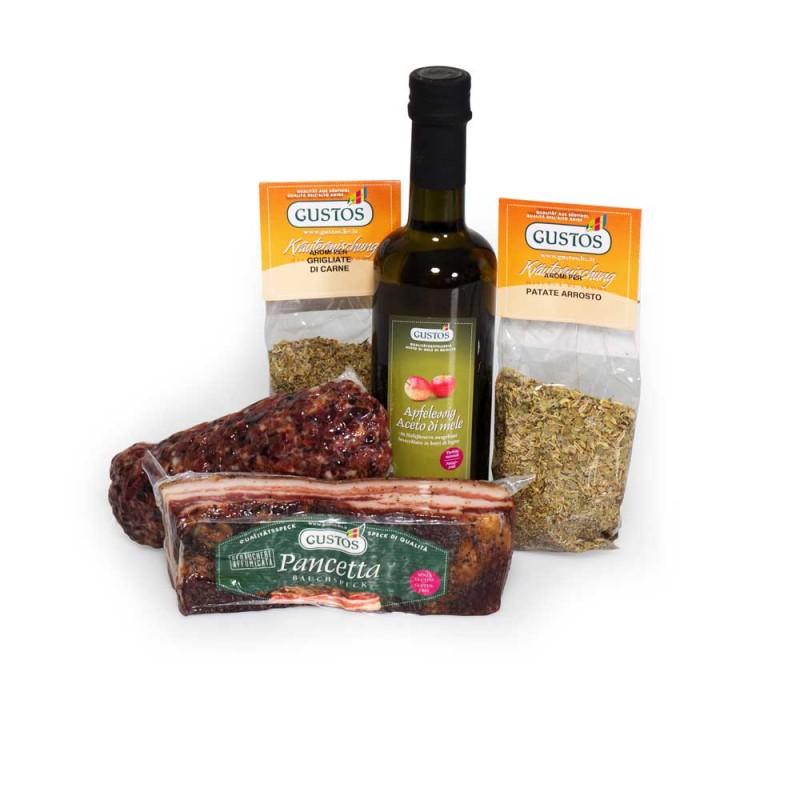 Aceto, spezie, speck e pancetta