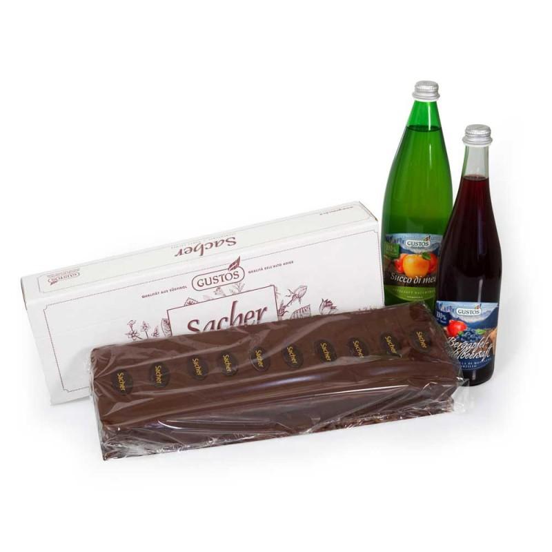 Kit di compleanno con Torta Sacher e succhi di frutta 100% naturali
