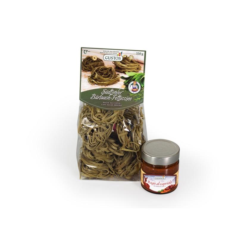 Fettuccine con aglio orsino e ragù di capriolo