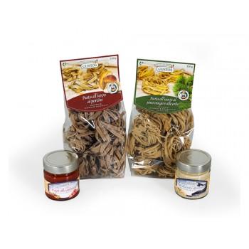 Kit Fettuccine alle erbe, Tagliatelle ai funghi, sugo alla trota e ragù di salsiccia
